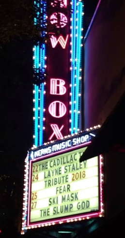 The Layne Staley Tribute beams brightly from The Showbox's Reader Board - Photo by C. Cavins NeHi Stripes Musiczine